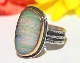 Australian Boulder Opal ring Sterling Silver 22K Gold - Opal Ring - US size 7 - mixed metal opal ring - silver gold wide band opal ring
