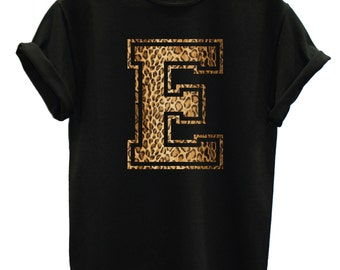 E Leopard Print Letter Fashion Tshirt Hipster Mens Womens Swag Brand New T Shirt