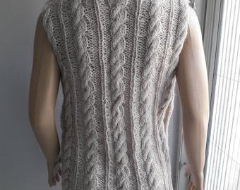 Dancing Twist - Cable Knit Vest / Hand Knit Vest / Lacy Vest / Sleeveless Vest  /  Round Neck Vest / Cable Knit Sweater / Hand Knit Sweater