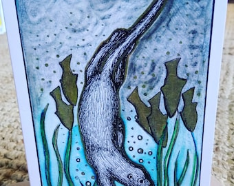 In at the Deep End otter greetings card