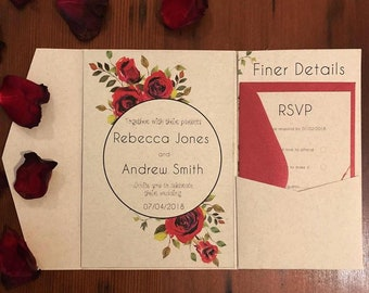 Red rose and greenery Wedding invitation pack. RSVP, Wishing Well, details card, Tag and Twine personalised to suit your wedding.