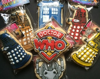 Dr. WHO SUGAR COOKIES  Doctor Who Inspired Decorated Cookies w/ Daleks, cyberman, tardis (police box), & logo    Christmas Gift Idea