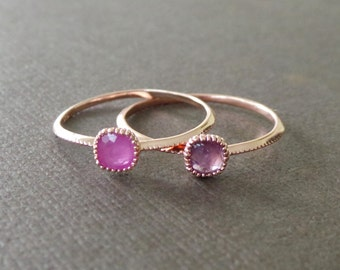 Petite Square Pink Sapphire 22k Rose Gold Vermeil Stacking Ring