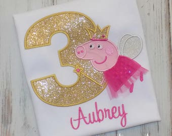 Peppa Pig Birthday shirt, Peppa Pig Fairy Shirt, Fairy Birthday Shirt, Peppa Pig birthday outfit, Peppa Pig Fairy outfit, sew cute creations