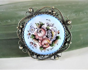 Blue Guilloche Brooch, Russian Finift, Rose Enamel, Silver Filigree Edge, Vintage Pin