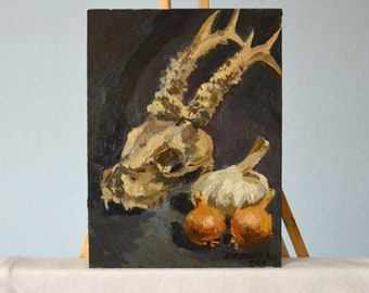 Animal skull painting Gothic home decor Small oil painting Modern painting Goat skull Dark art Animal Art Original painting on canvas panel