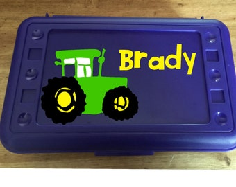 Back to School, Tractor, Personalized Pencil Box, Many colors available