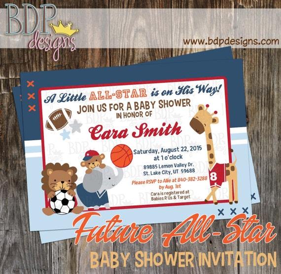 Future All Star MVP Sports Jungle Baby Shower Invitation