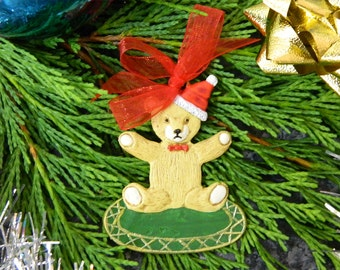 Christmas Tree Decorations - Teddy Bear & Christmas Hat - Flat Pewter Miniature - Hand Painted on both sides - ED1906