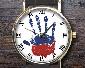 Personalise USA Map Watch, Custom Engraved watchband,Map of USA, American Flag,USA flag,Stars,Hand, Mens Watch, Women Watches, Wrist Watch.