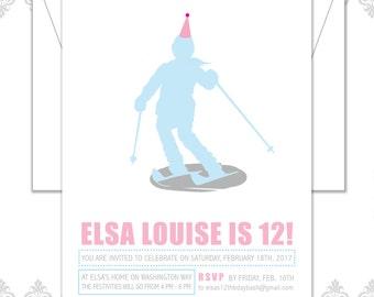 Skiing Birthday Invite, Ski theme, Ski party, Girl skier birthday invite, Skiing Party, Ski silhouette, modern skiing birthday invitation