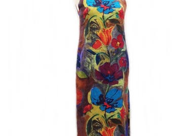 Vintage 80s hand painted dress/ vibrant flower dress/ turquoise blue red earthy brown & green/ floral shift dress/ European fashion