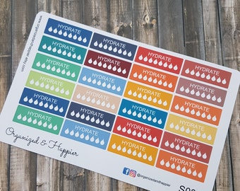 Weekly Hydration Water Tracker Planner Stickers Tracking Functional Planning Multi Color Matte Sticker Paper #S035