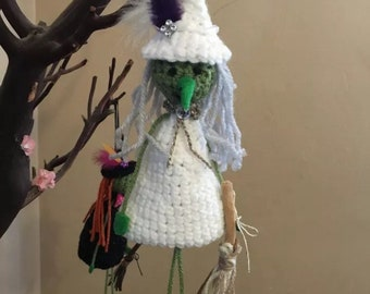 Crochet white witch Halloween Ornament