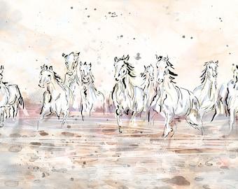 Horses Running Art, Wild Horses Print, Horse Wall Art