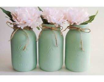 Mint Mason Jars, Mint Centerpieces, Mint Babyshower Decor