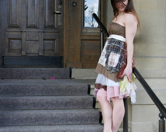 50% SALE upcycled clothing S - M  ethical fashion, strapless dress, apron dress
