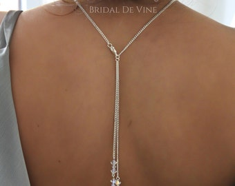 Bridal Backdrop Necklace Lariat Made with CRYSTALLIZED™ - Swarovski Elements Crystals