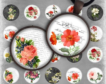 75% OFF SALE Digital Collage Sheet - Summer Flowers, 1 inch circle image pendants round glass cabochons charms resin digital image magnets