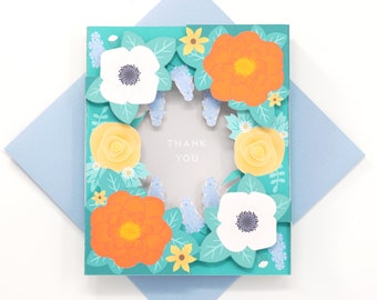 3D Shadowbox Floral Thank You Card