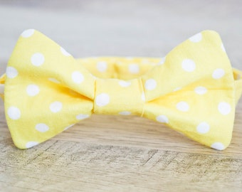 Yellow Polka Dot Bow Tie - Yellow Bow Tie - Polka Dot Bow Tie - Mens Yellow Bow Tie - Boys Yellow Bow Tie - Spring Bowtie - Baby Shower Gift