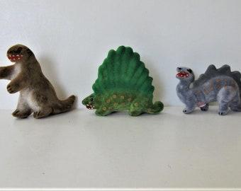 3 vintage Wagner Kunstlerschutz miniature flocked Dinosaurs, Made in West Germany, instant animal collection, Stegosaurus, gift idea