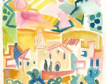 """Giclee print of the watercolour """"Cadaques"""" (Spain), 1989."""