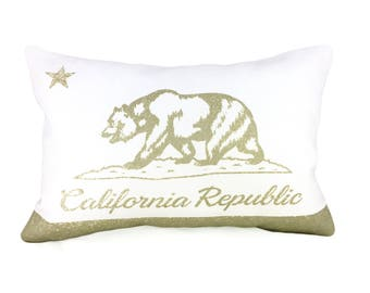 California Flag Pillow Cover - White Linen & Champagne Metallic (add'l colors avail)