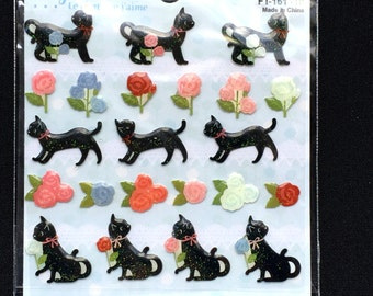 Cat Stickers -  Roses Stickers - Flower Stickers - Japanese Stickers  - Traditional Japanese (S5)
