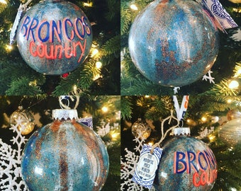 Glass ball sparkly tie dye Broncos Christmas ornament, hand painted, recycled and repurposed, mjndfully made