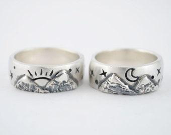 Fantasy wedding band, Mountain engagement ring, Wide band oxidized ring, Mountain ring, Sun engagement ring, moon engagement ring, Vintage