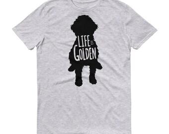 """Goldendoodle Shirt """"Life is Golden"""" Shirt Goldendoodle dog Mens Short-Sleeve T-Shirt"""
