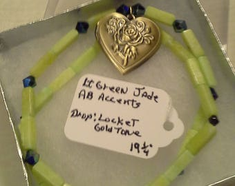 Jade and Locket Necklace