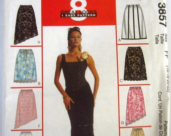 Easy Sew Misses Lined and Unlined Skirts 8 Styles Trim Variations Sizes 16 18 20 22 McCalls Pattern 3857 UNCUT