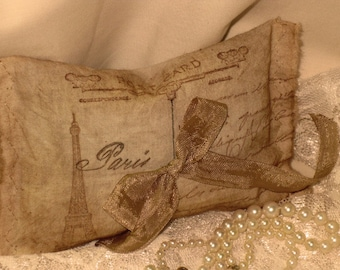 Vintage Muslin Carte Postale from Paris Sachet Handmade Filled with French Lavender OXOXO