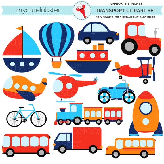 transport clipart set clip art set of transportation rh etsy com transportation clipart preschool transportation clipart preschool
