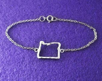 Silver Oregon Map Bracelet,Custom Map Bracelet,Personalized Oregon Bracelet,Map pendant,custom jewelry,Oregon custom jewelry