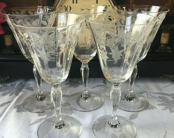 Fostoria Fuchsia Rtched Water Goblets Set of 5 dates from 1930s stem 6004 etch 310