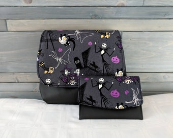 Nightmare Before Christmas, Jack and Sally, KELSI II Cross Body Purse Mini Messenger with Boon Wallet Jack Skellington and Sally Dark Gray