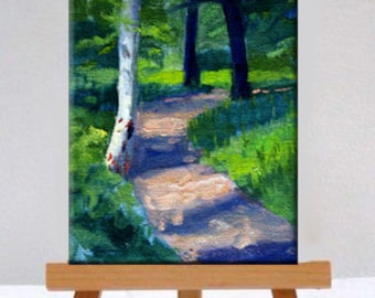 Birch Tree, Path, Landscape, Oil Painting, Original, Miniature, 5x7 Canvas, Forest Scene, Summer, Small, Wall Decor, Green, Wall Art