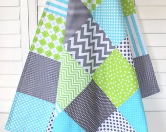 Baby Blanket, Minky Baby Blanket, Nursery Decor, Baby Gift, Patchwork Quilt, Aqua Blue, Lime, Green, Gray, Grey, Aqua, White, Baby Boy