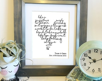 Personalized Heart Shaped Lyrics | Choose your lyrics | Wedding Song Lyrics Print | Paper 1st Anniversary gift | Frame not included