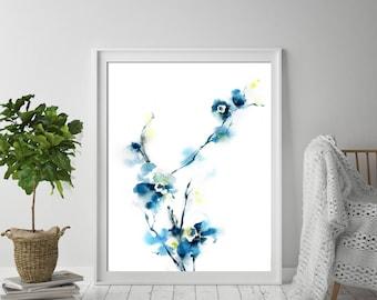 Blue minimalist flowers fine art print, watercolor painting art print, abstract botanical floral art, minimalist botanical wall art print