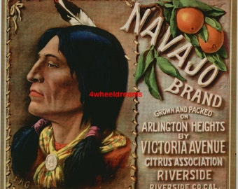 1930s Navajo Native American Indian Brave Riverside CA Crate Label Original