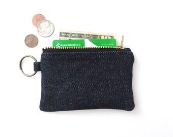 Denim Keychain Wallet Slim Coin Purse Zipper Pouch