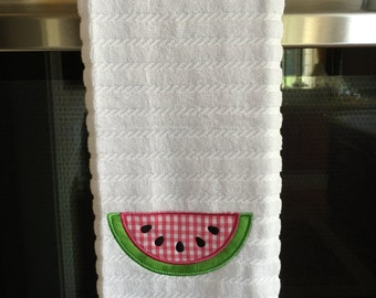 Personalized, Embroidered Cotton Kitchen Towel with Watermelon Appliqué