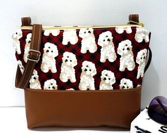 Crossbody Bag, Dog on Red Plaid Crossbody Bag, Crossbody, Crossbody with Vegan Leather Trim, Zipper Shoulder Bag, Gift for Her