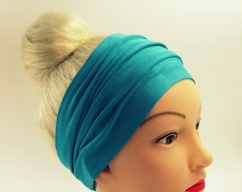 Turquoise Headband, Bandana,Wide Headband,Running Headband,Turquoise Yoga Headband,Turquoise,Headwraps,Stretch Headband,Beach Headband,Boho
