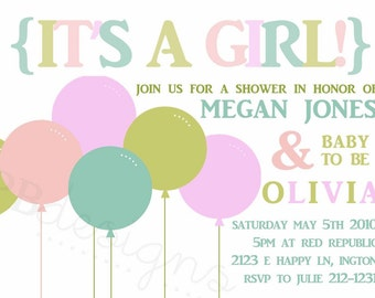 Baby Shower Invitation -- Big Balloons GIRL