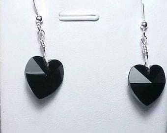 Joan Jet Black Heart Swarovski Crystal Earrings with Sterling Silver